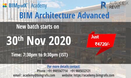 BIM Advanced Architecture Batch starting on 30 November